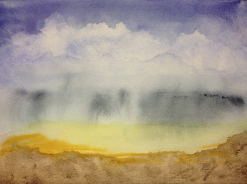 Watercolor: Practice study of cloudy sky
