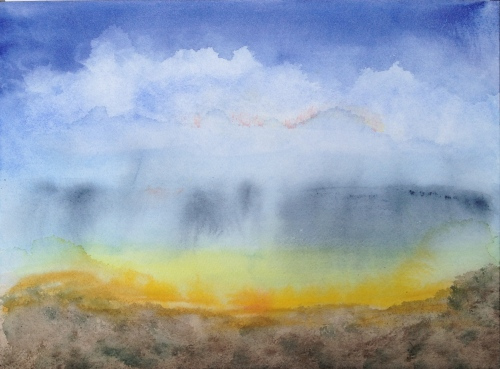 Watercolor: Sky with brown foreground and rain clouds