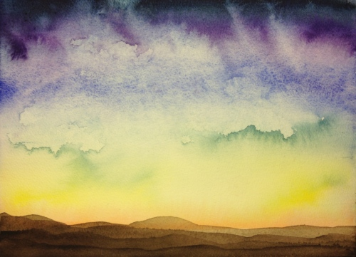 Watercolor: vividly colored sky with clouds