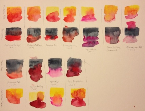 Watercolor: Gray Red Test Strip