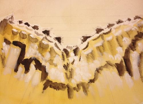 Watercolor: Monochrome-like rendering of moth wings in browns