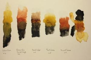 Watercolor : Test strips with yellow ochre, quinacridone orange, burnt umber, raw sienna, burnt sienna, quinacridone nickel