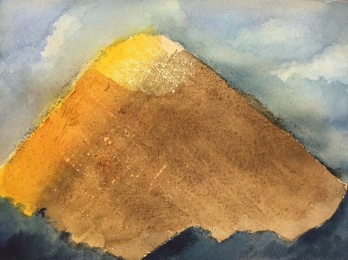 Watercolor: Abstract - earth tone triangular shape surrounded by blues