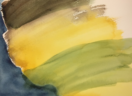 Watercolor: Abstract - earth colors with prussian blue and shadow green on dry paper