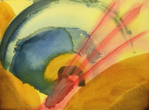 Watercolor: Abstract - earth tones and red triplet of arrow