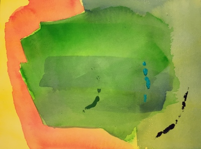 Watercolor: Abstract - yellow and red on left side replaced by green on right.... blobs of dark blue, turquoise and green