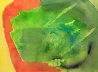 Watercolor: Abstract - yellow and red on left side replaced by green on right.... scraped paper; smeared blobs of dark blue, turquoise and green