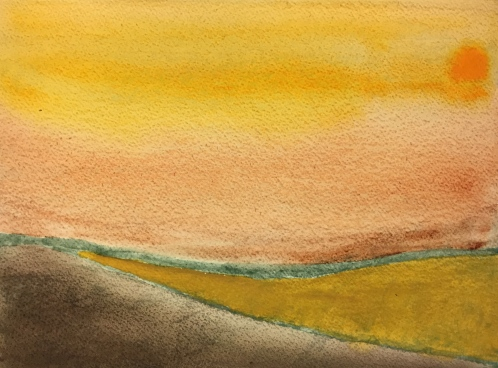 Watercolor: Abstract - Sunset colors using earth tones; foreground Van Dyke Brown/Yellow Ochre