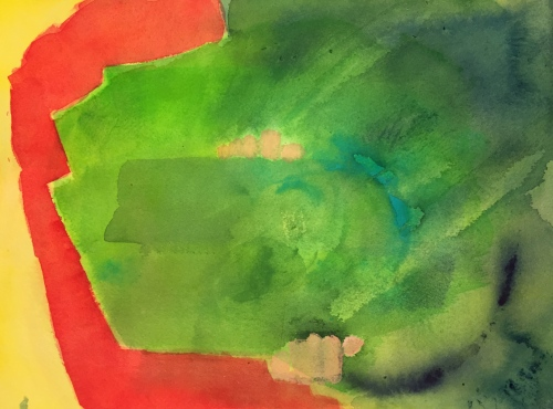 Watercolor: Abstract - yellow and red on left side replaced by green on right.... painted scraped paper; smeared blobs of dark blue, turquoise and green