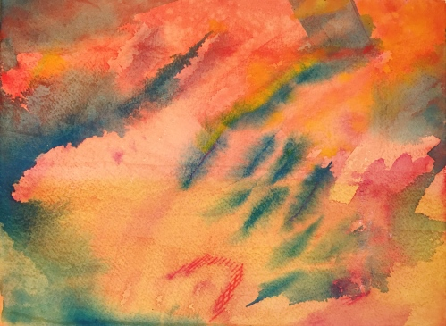 Watercolor: Abstract - reds, yellow ochre and phthalo blue
