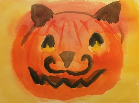 Watercolor: Pumpkin with Werewolf Ears