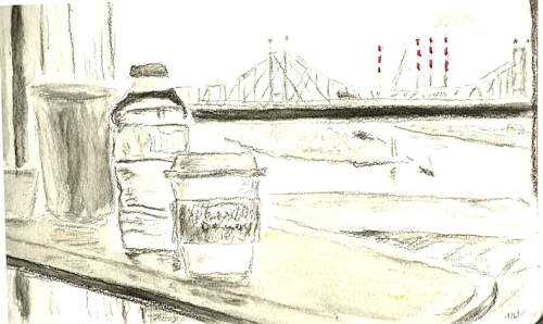 Sketch: From hospital window, view of 59th Street Bridge, NYC