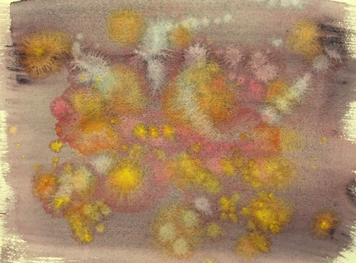 Watercolor : Abstract with Moonglow; quinacridone red, burnt orange; aureolin yellow