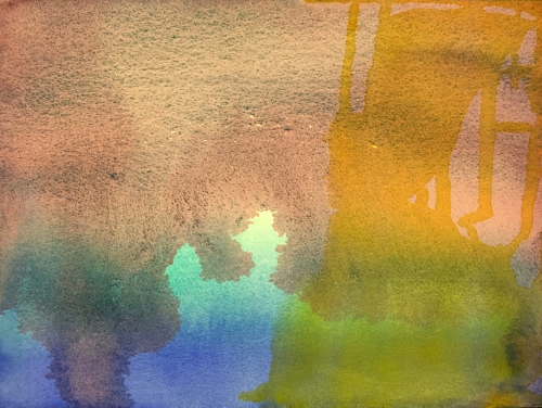 Watercolor: Abstract using granulating pigments