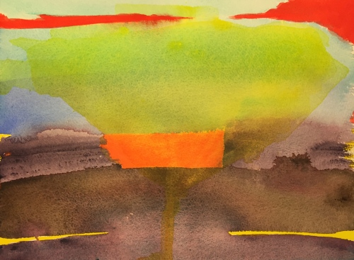 Watercolor: Abstract - Granular pigments with lemon yellow glaze