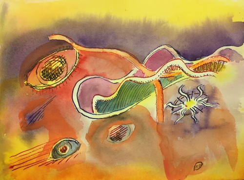 Watercolor: Eyes Abstract - pen and ink and watercolor