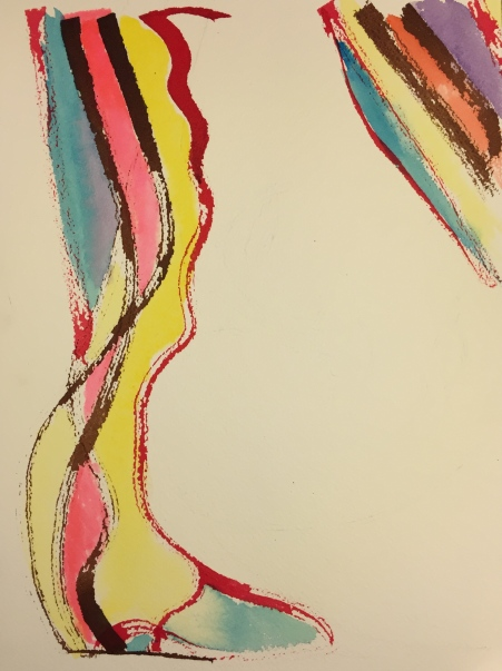 Watercolor: Abstract - pen and ink long lines with watercolors