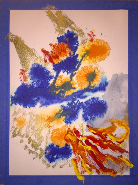 Watercolor: Abstract Dragon - watercolor inks, paint and gouache impasto