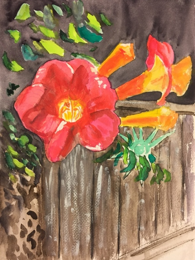 Watercolor: Red Trumpet-shaped Flower in front of brown fence