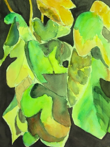 Watercolor: Abstract - Fall Fig Leaves