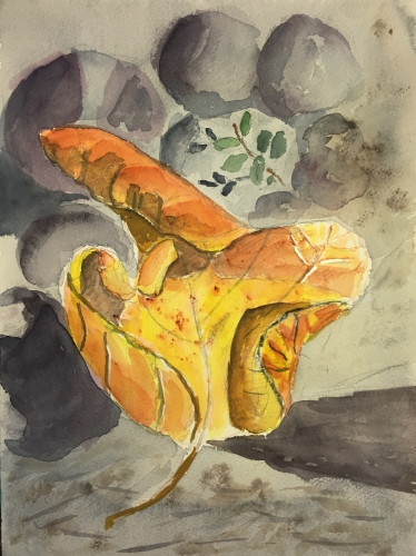 Watercolor: Fig Leaf Fallen on the Ground