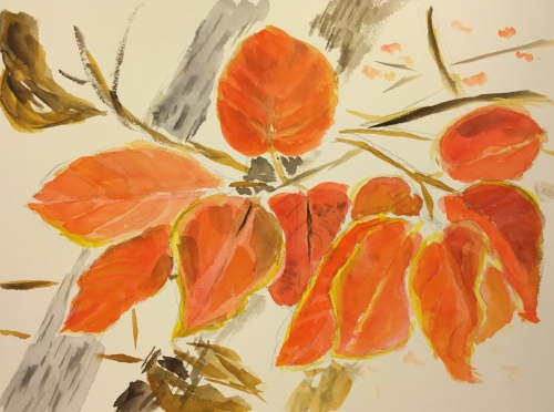 Watercolor: Persimmon Leaves