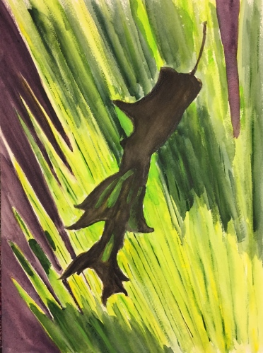Watercolor: Palm and Oak Leaves