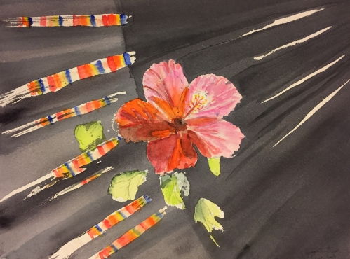 Watercolor: Hibiscus with sun and rainbow rays