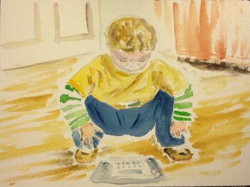 Watercolor: Portrait of William, balancing