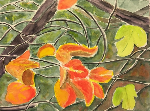 Watercolor: Red Persimmon Leaves and Green Fig Leaves