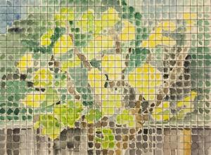 Watercolor: Fig Tree as seen through a screen