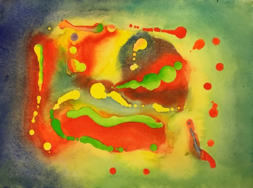 Watercolor: Abstract using latex resist - Final