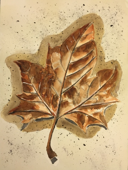Watercolor: Wet Brown Leaf on the Ground