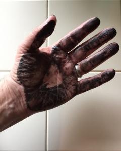 Digital Photo: Hand with black acrylic paint
