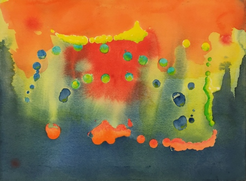 Watercolor: Abstract using drips of liquid latex