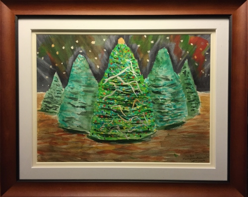 Watercolor: Spruce Christmas Trees