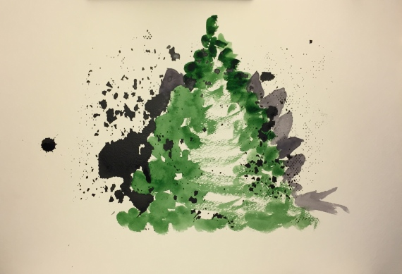 Painting - Watercolor and Acrylic: Pine Tree and Dinosaur