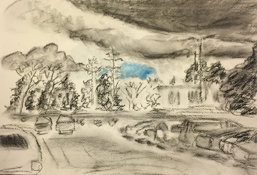 Charcoal Sketch: Parking Lot #3 with Blue Sky