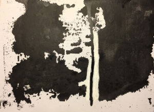 Screen Experiment 3 - Attempt to print black acrylic on cardboard