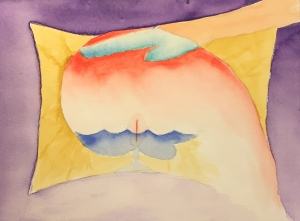 Watercolor: Abstract Expressionistic - Head on Pillow