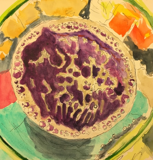 Watercolor: Top View of Bubbly Drink