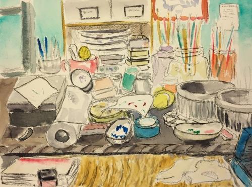 Watercolor: Pencil and Watercolor of Messy Desk
