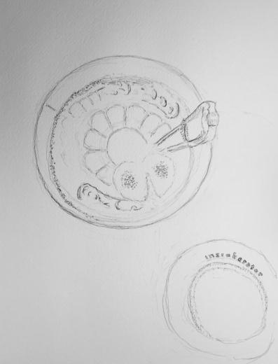 Sketch: Coke Glass in Sink with Heart-Shaped Bubble Pattern
