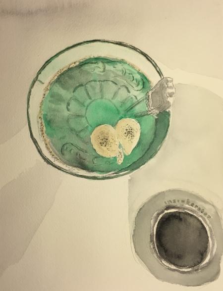 Watercolor: Coke Glass in Sink with Heart-Shaped Bubble Pattern