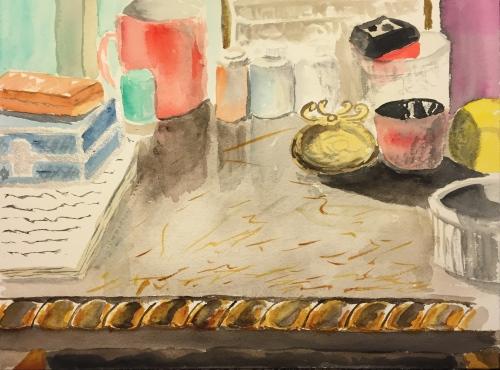 Watercolor: Desk in Studio Cleaned Off
