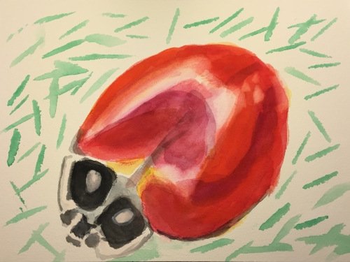 Watercolor: Ladybird Insect Done without Sketch