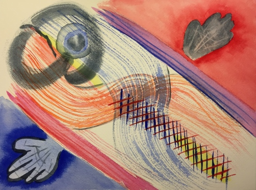 Watercolor: Abstract - Red and Blue Crossing Filaments Plus Brain Collage