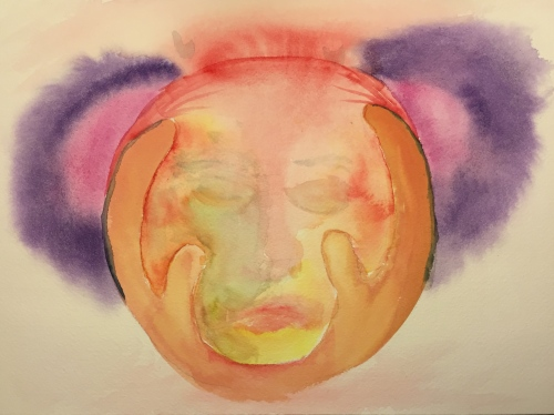 Watercolor: Abstract - Two Hands Holding a Feverish Head