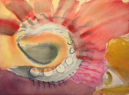 Watercolor: Gray Spiral, Red Radiating Lines with Clock Icons