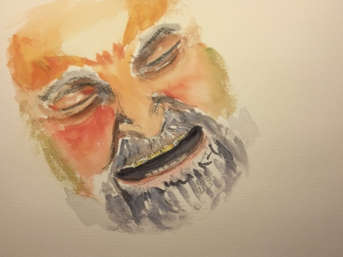 Watercolor: Close Up Portrait of Man Laughing